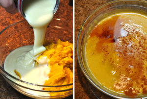 смешиваем яйца с тыквой