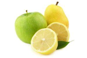 груша, яблоко, лимон