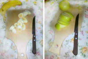 Яблоки и бананы порезать