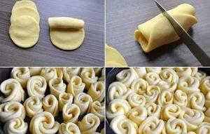 Розочки из теста для украшения пирога