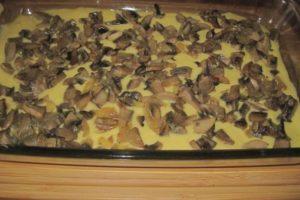 Выкладывают грибы на тесто