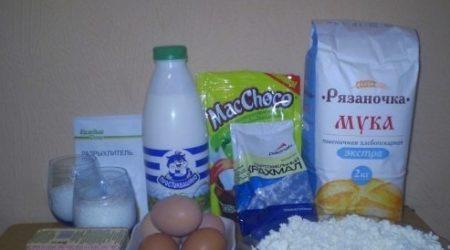 Ингредиенты для начинки из творога