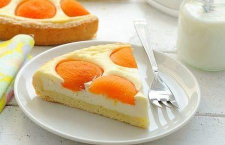 Кусок заливного пирога с абрикосами