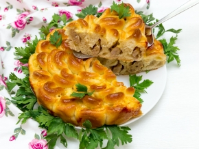 готовый пирог Хризантема